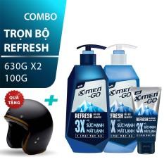 [Bộ 3 Refresh tặng Nón bảo hiểm] Xmen Go Dầu Gội 630g, Sữa tắm 630g, Sửa rửa mặt 100g