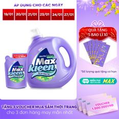 [FREESHIP 30K + TẶNG BAO LÌ XÌ] Combo Nước giặt xả Maxkleen hương Vườn Sớm Mai: 1 Chai 2.4kg + 1 Túi 600g