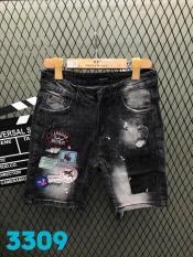 [ có video ] quần short jean nam phối hình thời trang cao cấp