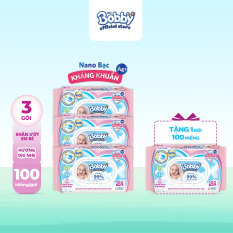 [GIẢM 7% ĐƠN 777K] [Tặng thêm 1 gói cùng loại] Bộ 3 gói Khăn giấy ướt trẻ em Bobby Care Nano Bạc Kháng Khuẩn hương dịu nhẹ gói 100 miếng