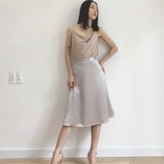 EDINI – Chân Váy Dài Lụa Xám V368