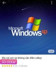 đĩa cài win XP3 không phải điền CDKey