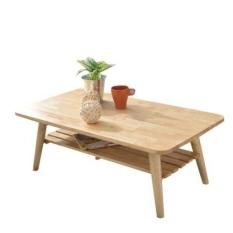 Bàn sofa 2 tầng xếp gọn, gỗ cao su – Bàn trà 2 tầng gấp gọn 90x50cm