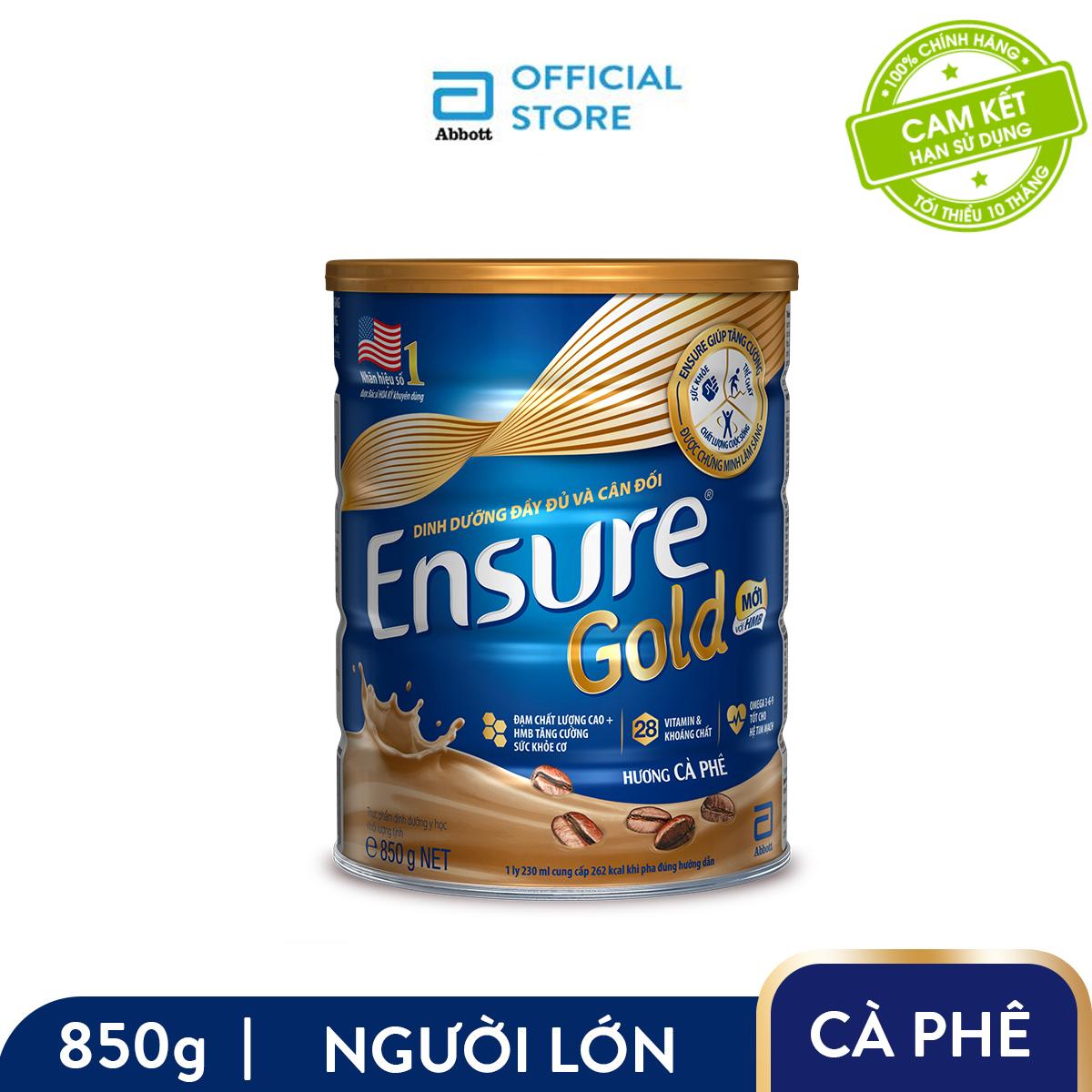 Lon sữa bột Ensure Gold hương cà phê 850g