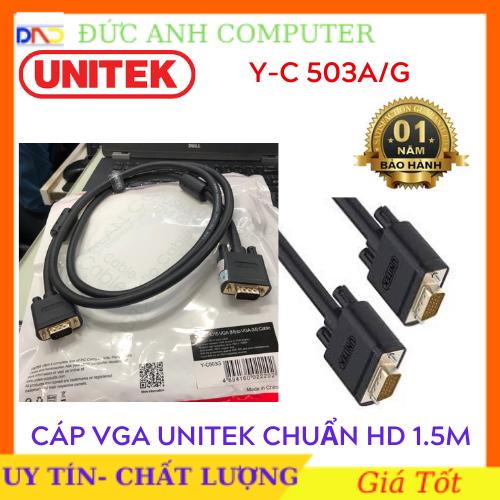 Cáp VGA Unitek 1M5 (YC 503G) – chính hãng 100% bảo hành 18 tháng – 1 đổi 1 cam kết sản phẩm đúng mô tả chất lượng đảm bảo