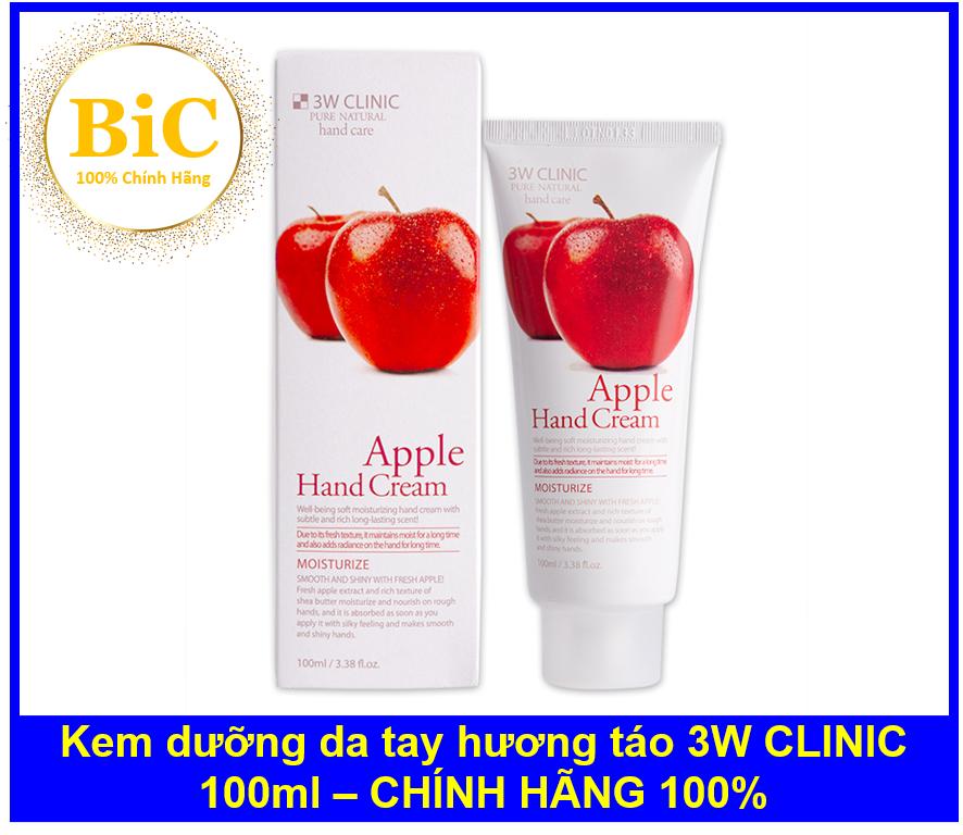 Kem dưỡng da tay hương táo 3W CLINIC Moisturizing Apple Hand Cream 100ml