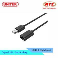 Cáp USB nối dài 2.0 Unitek Y-C 449GBK – dài 1.5m (Đen) – Hãng phân phối chính thức