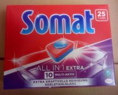 Viên rửa bát Somat 10 in1 – Hàng mới 2019, 25 viên hiệu quả mạnh mẽ hơn (alio, finish, bột rửa chén bát, viên rửa chén bát)