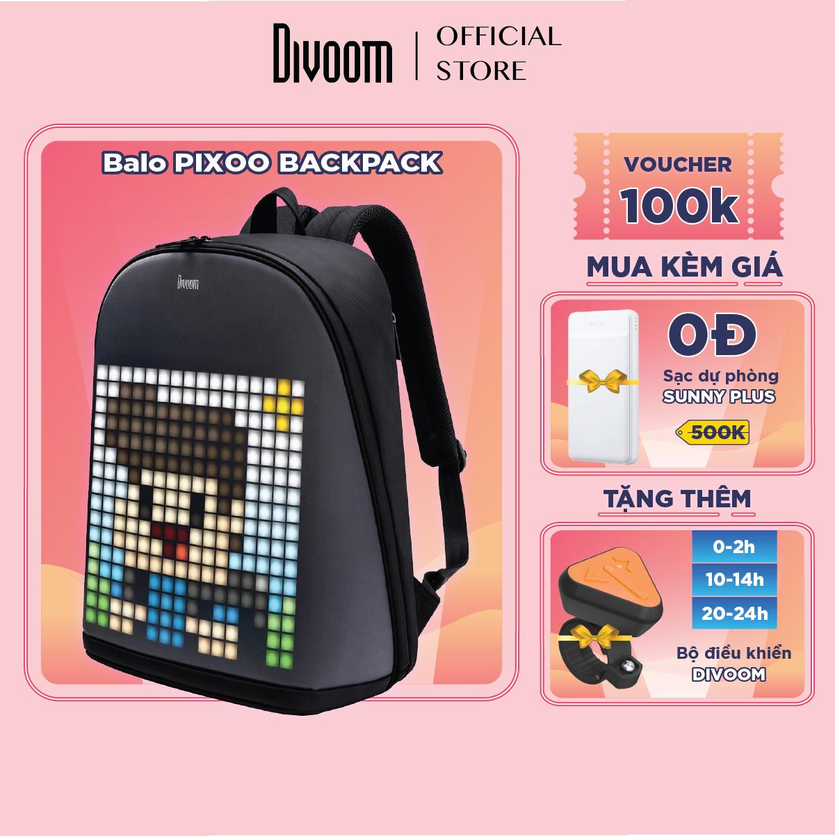 [SĂN VOUCHER 100K] Balo Divoom – Pixoo backpack có màn hình LED tùy chỉnh bằng APP, ngăn chứa lớn vừa Laptop 13 Inch, chống thấm nước cho hoạt động ngoài trời