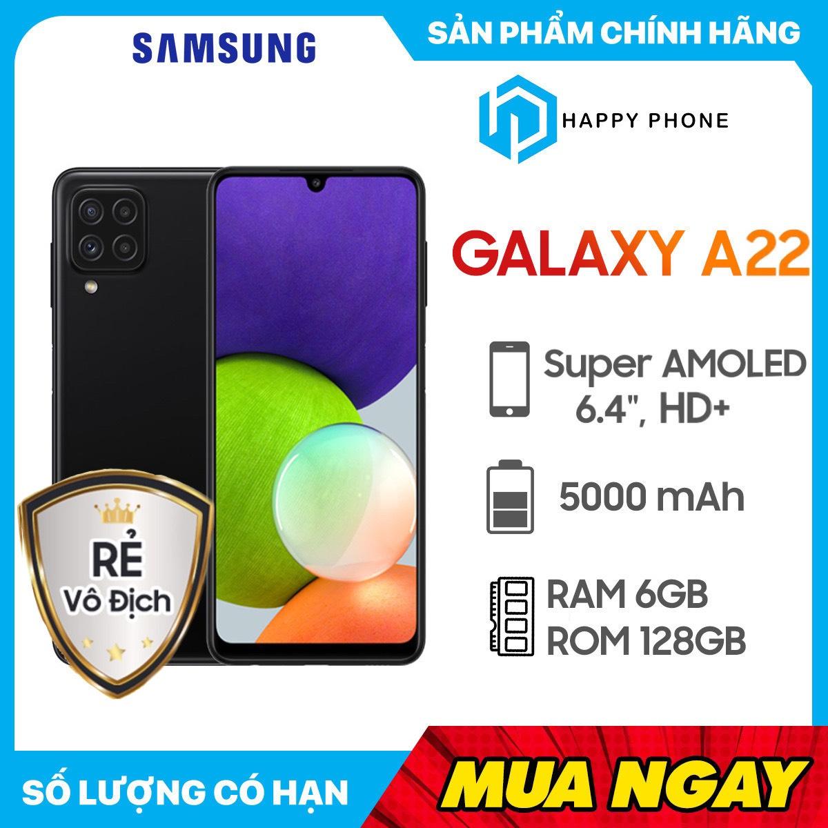 Điện thoại Samsung Galaxy A22 (6GB/128GB) - Hàng Chính Hãng, Mới 100%, Nguyên Seal | Bảo hành 12 tháng