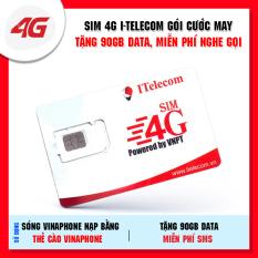 Sim 4G itelecom sử dụng sóng Vinaphone gói 3GB/ngày (90GB/tháng) + 30 phút gọi ngoại mạng + Miễn phí gọi nội mạng Vinaphone