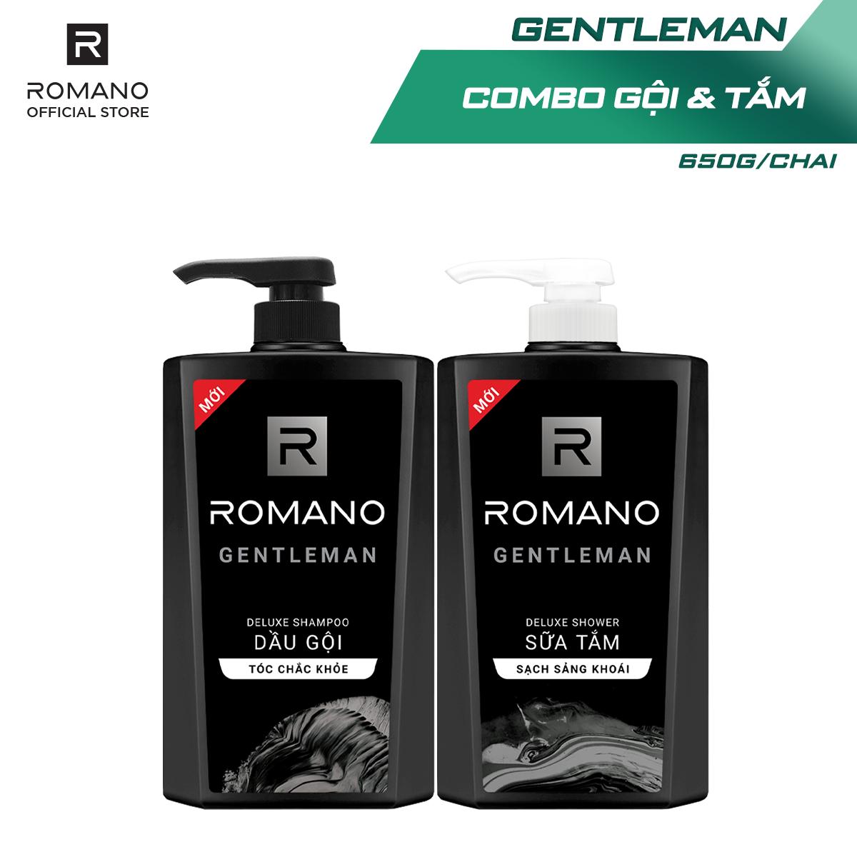 [Follow Shop -10k] Combo Dầu gội và Sữa tắm Romano Gentleman 650gr*2