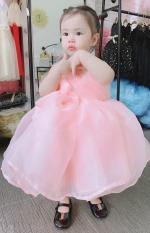 Đầm váy công chúa cho bé gái kiểu 2 dây có nơ to siêu yêu cho bé gái từ 8kg đến 22kg( màu đỏ, hồng)