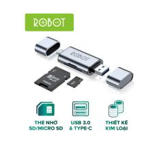 Thiết Bị Đọc Thẻ Nhớ SD/ MicroSD ROBOT CR202 – 2 Cổng Type-C Và USB 3.0 l HÀNG CHÍNH HÃNG