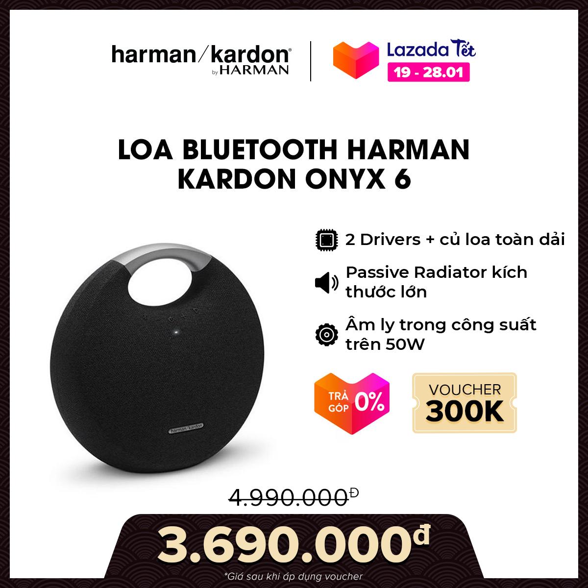 [VOUCHER 300K – TRẢ GÓP 0%] Loa Bluetooth Harman Kardon Onyx 6 l Công suất 50W l 2 Driver kèm củ loa toàn dải l Thời gian nghe nhạc lên đến 8h l HÀNG CHÍNH HÃNG