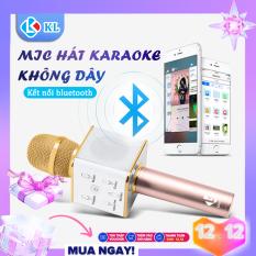Mic hát Karaoke Bluetooth Q7 mic hát cầm tay tiện lợi kèm loa, sản phẩm có thể kết nối với hầu hết các điện thoại di động và máy tính bảng, máy tính