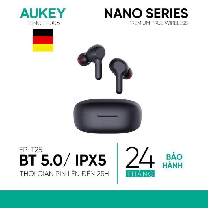 Tai Nghe True Wireless AUKEY EP-T25 Bluetooth 5.0 Pin Lên Tới 25H Cảm Ứng Chống Nước IPX5 Nghe Độc Lập 2 Tai – Hàng Chính Hãng