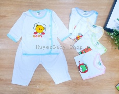 Set 5 bộ quần áo sơ sinh tay dài màu trắng cúc lệch cho bé trai, bé gái từ 3-11kg