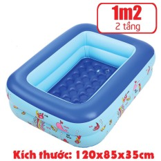 [Tặng 50 Bóng nước] Bể phao 1m20 loại dày 2 tầng tặng kèm miếng vá – bể bơi cho bé – Chọn mua kèm bơm điện khi đặt hàng