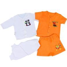 Combo 4 bộ đồ sơ sinh in hình kute cho bé