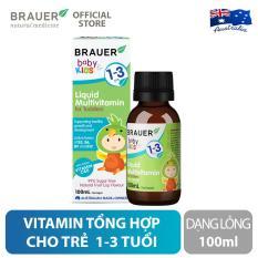 Vitamin Tổng Hợp Brauer Liquid MultiVitamin dạng lỏng (100ml), tăng cường hệ miễn dịch và hỗ trợ phát triển toàn diện, cho trẻ từ 1 – 3 tuổi