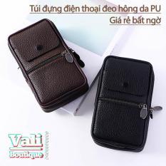 Túi đựng điện thoại da PU đeo ngang hông kiểu dọc T1 dạng to 4 ngăn – Túi đeo thắt lưng giả da PU kiểu dọc – đen, nâu.