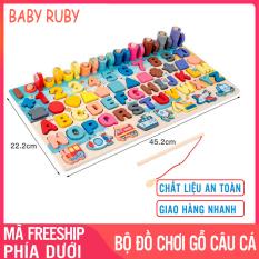 Bộ Đồ Chơi Gỗ Thông Minh Cho Bé – 7 trong 1 kèm hình khối, sô, chữ và phương tiện, kích thước 22x45cm – Đồ chơi trí tuệ, đồ chơi giáo dục, bộ câu cá cho bé, bảng gỗ, bảng sô bằng gỗ – Baby Ruby