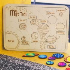 Bộ hệ mặt trời bằng gỗ, bé tô màu và tìm hiểu thiên văn học dễ dàng