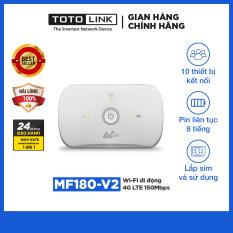 Wi-Fi di động 4G LTE 150Mbps TOTOLINK MF180-V2 Cục phát wifi lắp Sim và sử dụng tiện lợi Thiết bị wifi dùng cho du lịch di chuyển có thể sử dụng Pin hoặc cắm nguồn điện trực tiếp Hãng phân phối chính thức