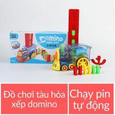 Đồ chơi tàu hỏa tự động xếp domino chạy pin 63 chi tiết cho trẻ em bé mã 53514