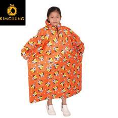 Áo mưa vải dù cao cấp cho bé, mẫu áo rúc trùm kín không xẻ tà (Từ 2-12 tuổi)