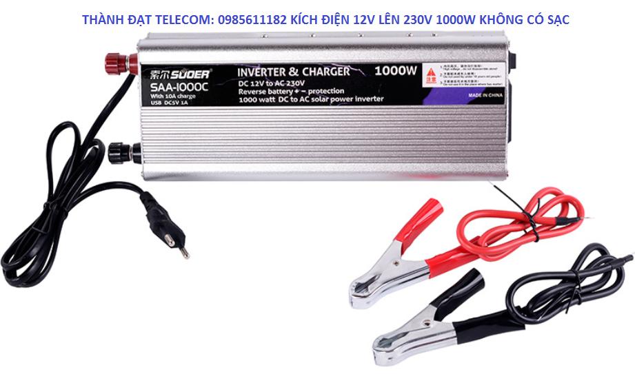 Bộ chuyển đổi điện hình sin chuẩn 12V lên 220V Suoer 1000w có sạc, 1000w không sạc, 2000w không sạc