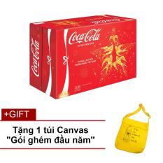 Nước ngọt có ga Coca-Cola thùng 24 lon 330ml + Tặng 1 túi vải Canvas (màu ngẫu nhiên)