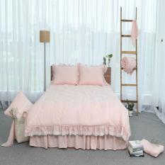Chăn thu đông thiết kế thêu 100% cotton – linen Grand – Hồng