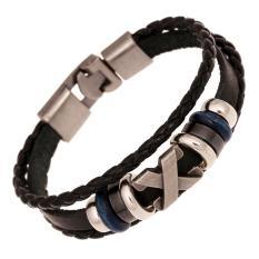 Vòng tay thời trang nam nữ – vòng tay Da biểu tượng X Unisex