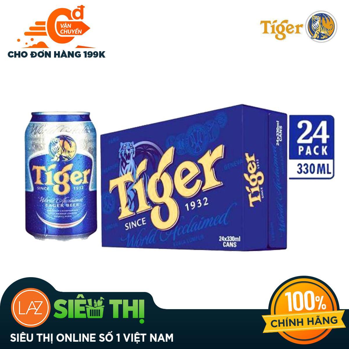 [Siêu thị Lazada] - Thùng 24 lon Tiger thường - lon 330ml