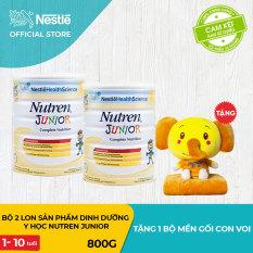 [FREESHIP] Bộ 2 lon Sản phẩm dinh dưỡng y học 2 lon Nutren Junior cho trẻ từ 1-10 tuổi 800g + Tặng 1 bộ mền gối con voi – Cam kết HSD còn ít nhất 10 tháng