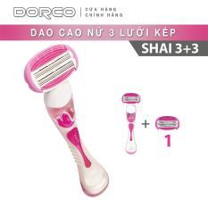 Bộ Dao cạo cho nữ 3 lưỡi kép DORCO Shai 3 + 3