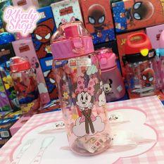Bình nước có 2 nắp hình chuột Minnie màu hồng siêu xinh cho trẻ em, bé gái – 450ml – 48NMN3342