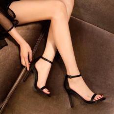 Giày sandal cao gót Ngọc Trinh da màu đen đế cao 10 phân hở mũi đẹp giá rẻ thời trang công sở đi chơi