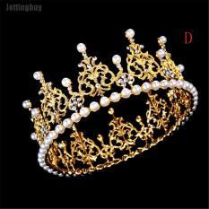 Vương miện công chúa Jettingbuy đính đá kim cương giả và pha lê ngọc trai cho cô dâu kết hợp khăn trùm đầu, màu bạc và màu vàng, 4 kiểu dáng để lựa chọn – INTL