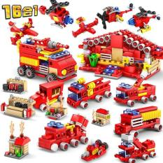 Bộ 16 trong 1 xe cứu hỏa đồ chơi lắp ráp