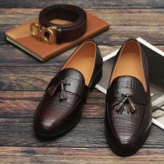 giày lười chất da bò nơ cánh én nam(NÂU ĐỎ)