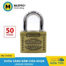 Ổ Khóa Vàng Bấm MAXPRO Hoa Văn Càng Thường Chìa Nhọn 50mm – C10X50
