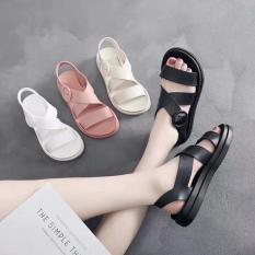 Sandal nữ dép nhựa dẻo đi mưa HAPU hồng, kem, đen