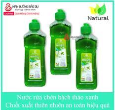 Bộ 3 chai Nước rửa chén Bách Thảo xanh hương trà xanh chiết xuất thiên nhiên không hại da tay – Chai 500g