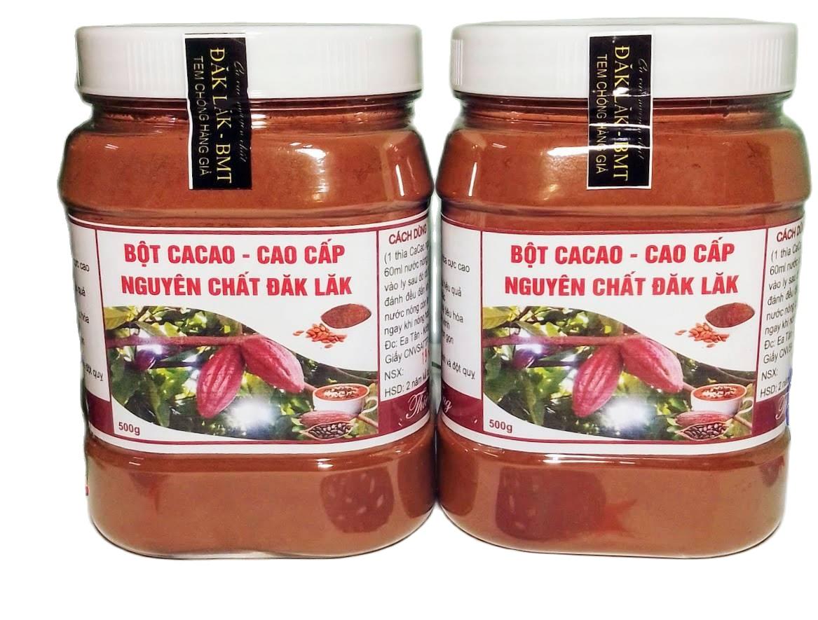 (MIỄN SHIP 20K) Combo 1kg Bột Cacao Nguyên Chất Đăk Lăk Loại 1: Thơm ngon, Bổ Dưỡng, Vị Đậm Đà (2 hủ 500gr) Shop Na Gà