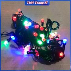 Dây đèn led nháy nhiều màu dài 10m bóng kim cương lục giác chống nước – dây đèn nháy trang trí noel