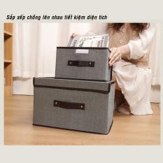 Combo 2 hộp thùng đựng đồ bằng vải đựng quần áo đồ chơi đa năng bằng vải cứng cắp có nắp đậy