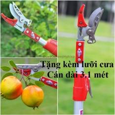 Kéo cắt tỉa cànhkéo hái hoa quả trên cao 3 mét Cán được làm từ hợp kim nhôm nhẹ bền tiết kiệm sức lao động Đầu kéo lữa cưa được làm từ thép rất sắc bén